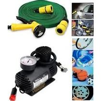 Multi Functional Water Spray Gun For Home And Garden & Mini 12 Volt Air Compressure For Car/ Bike
