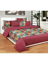 Best Deal Double Bed Sheet With Pillow Cover Heavy Cotton001, multicolor