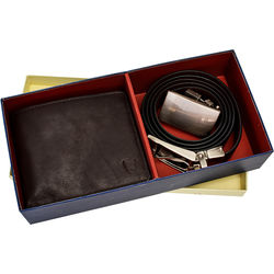 Giftbox-Men's Belt Wallet Combo,  brown