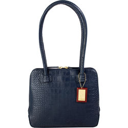 Small Estelle, croco,  midnight blue