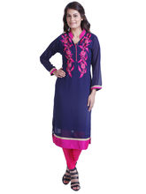 Yash Texknit Georgett Anarkali Kurta with V-Neck, royal-blue, xl