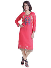 Yash Texknit Georgett Anarkali Kurta with V-Neck, pink, xl