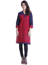 Yash Texknit Pure Cotton Printed Kurta with the V-neck, red, xl