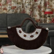 Bole Brown Velvet and Stone Crescent Moon Bag