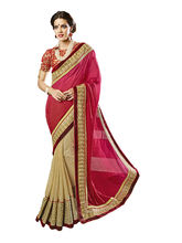 Party Wear Embroidered Net saree, beige