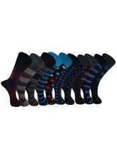Aov Men Solid Mid-Calf Length Socks Pack Of 10 Pai...