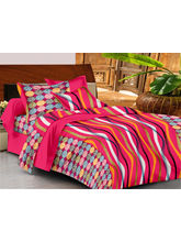 Casa Basics Double Bedsheet With 2 Pillow Cover (CBEZ230230144115), pink and yellow