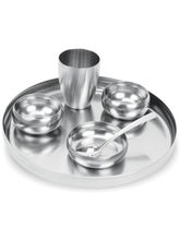 Exotic 6 Pcs Dinner Set Brushed Steel Finish