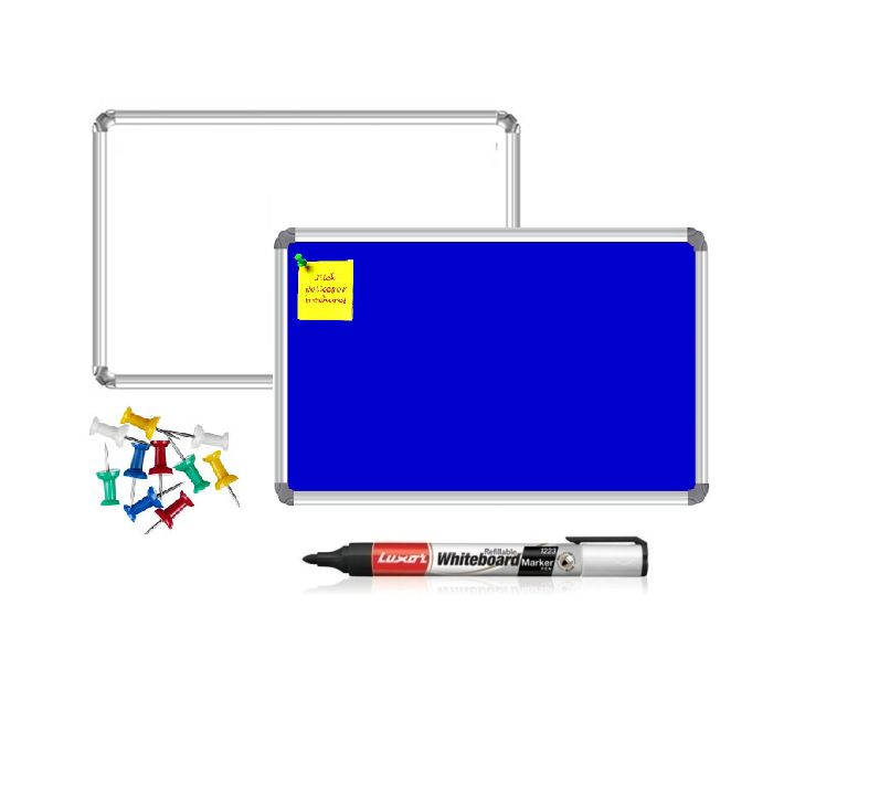 Nechams Non-Mag White Board & Blue Notice Board 4' X 2' Pack Of 2