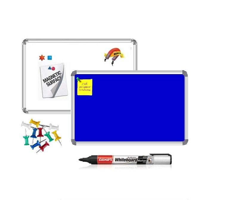 Nechams Mag White Board Blue Notice Board 4' X 3' Combo Pack 2