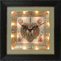eCraftIndia Cryctal Studded Marble Wall Clock with Kundan Work & Peocock