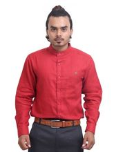 PP Shirts Mandarin Collar Shirt (PPPL101), xl, dark red