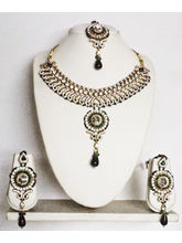 Gold Color, Green Necklace Paired With A Matching ...