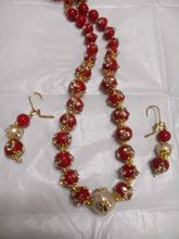Brick Red, Gold Color, Off White Necklace Set-GI36...