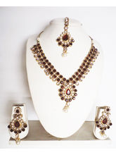 Gold Color, Maroon Gold Plated Necklace Paired Wit...