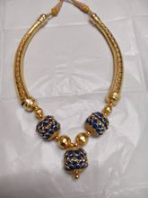 Blue, Gold Color Necklace Set-GI36234