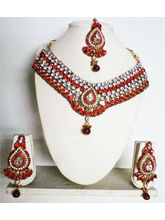 Maroon, Red Gold Plated Necklace Paired With A Mat...