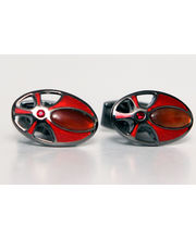 BLACKSMITHH CUFFLINKS - This Automotive Inspired Design, Effortlessly Brings Together Red Enamel, Rainbow Jasper Stone And Light Siam Swarovski Crystal