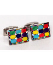 BLACKSMITHH CUFFLINKS - A GEOMETRIC MIX OF MULTICOLOUR ENAMEL WITH TONAL SWAROVSKI CRYSTAL