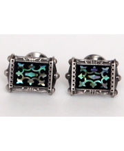 BLACKSMITHH CUFFLINKS - THIS ONE OF A DESIGN, HAS AN INTRICATE ENAMEL PATTERN SET ON AN ABALONE SHELL BASE, SET IN AN ANTIQUE PLATED CASE