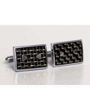 BLACKSMITHH CUFFLINKS- Black And Gold Fibre Mesh Underlays Are Perfectly Balanced With Two Elegant Metal Triangles To Create This Complex Yet Easy To Wear Cufflink.