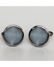 BLACKSMITHH CUFFLINKS - A Circle Shaped Tiger Eye Stone Placed In A Circular Metal Casing