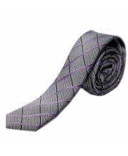 BLACKSMITHH TIES - PURPLE AND GREY ABSTRACT CHECKS