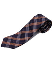 BLACKSMITHH TIES - BROWN AND NAVY CHECKS
