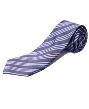 BLACKSMITHH TIES - GREY AND SKY BLUE STRIPES