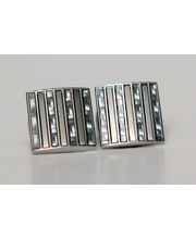 BLACKSMITHH CUFFLINKS - A Striking Arrangement Of Shimmering White Carbon Fiber Panels With Brushed Rhodium Inserts.