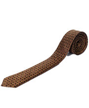 BLACKSMITHH TIES - BROWN AND YELLOW OCHRE PAISLEY ALL OVER WEAVE