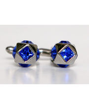 BLACKSMITHH CUFFLINKS - Five Blue Swarovski Crystals Set Around A 3 Dimensional Metal Body. Looks Like A Spaceship!