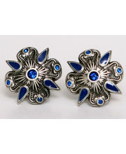 BLACKSMITHH CUFFLINKS - AN OPULENT DESIGN SET WITH STUNNING BLUE SWAROVSKI CRYSTALS, SET IN AN ANTIQUE SILVER PLATED CASE WITH TONAL ENAMEL