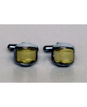 BLACKSMITHH CUFFLINKS- One Single Cream Tiger Eye Chamfered And Uniquely Placed In An Abstract Casing