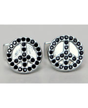 BLACKSMITHH CUFFLINKS - A Contemporary Take On The Classic Peace Symbol Studded With Shimmering Swarovski Crystals Set In Shiny Metal