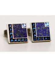 BLACKSMITHH CUFFLINKS - Blue Swarovski Crystals Outlined With A Singe Block Of Lapis