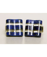 BLACKSMITHH CUFFLINKS - Solid Blocks Of Lapis Suspended Around Slabs Of Clear Crystal