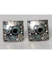 BLACKSMITHH CUFFLINKS - A Beautiful Specimen, This Cellular Looking Combination Of Enamel And Swarowski Crystals