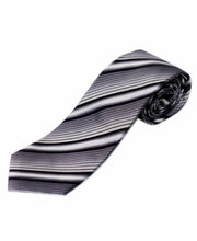 BLACKSMITHH TIES - GREY AND WHITE STRIPES