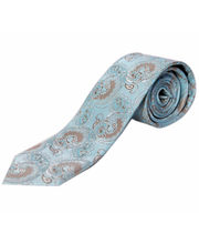 BLACKSMITHH TIES - TURQUOISE AND GOLD PAISLEY ALL OVER WEAVE