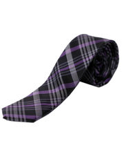 BLACKSMITHH TIES- PURPLE AND BLACK ALL OVER FASHION ABSTRACT CHECKS