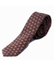 BLACKSMITHH TIES - BROWN AND PURPLE FLORAL WEAVE