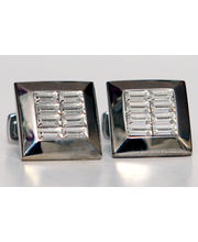 BLACKSMITHH CUFFLINKS - A Sumptuous Design, Stacked With Clear Swarovski Crystal Baguettes In A Chamfered Case.