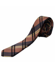 BLACKSMITHH TIES - BROWN AND NAVY ABSTRACT CHECKS