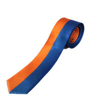 BLACKSMITHH TIES - HALF AND HALF VERTICAL STRIPES - ORANGE AND BLUE
