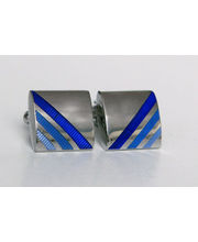 BLACKSMITHH CUFFLINKS - Bold Stripes Of Enamel Over A Subtle Under Engraving Texture On An Curvaceous Profile Rhodium Plated Shape.