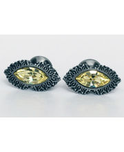 BLACKSMITHH CUFFLINKS - AN OPULENT DESIGN SET WITH A SINGLE STUNNING NAVETTE CUT YELLOW SWAROVSKI CRYSTAL, SET IN AN ANTIQUE SILVER PLATED CASE