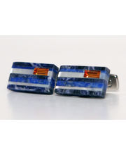 BLACKSMITHH CUFFLINKS - Stunning Stripes Of Sodalite, , Lapis, Mother Of Pearl Topped With A Topaz Swarovski Crystal