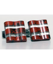 BLACKSMITHH CUFFLINKS - Solid Blocks Of Brecciated Jasper Suspended Around Slabs Of Clear Crystal