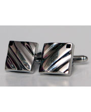 BLACKSMITHH CUFFLINKS - Detailed With Diagonal Grooves And Set With A Corner Set Black Swarovski Crystal. This Beautifully Cufflink Is Molded In Two-parts To Create A Quirky Hollow Center.